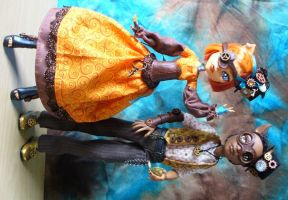 Monster High customs - Steampunk Toralei and Clawd by redmermaidwerewolf