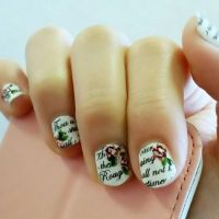 Newspaper Printed Floral Nails by rltan888
