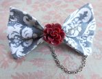 Painting The Roses Red Grey Punk Hair Bow by random-wish