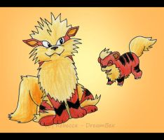 Arcanine and Growlithe by DreamBex
