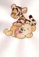 baby tiger and pooh bear by Duckmad