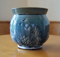 Blue and Green Tree Themed Ceramic Vase by ashynekosan