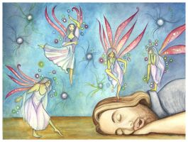 The Dreamer And The Faeries by DragonTreasureArt