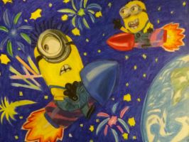Minions in Space by dinosaurfever