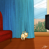 NekoTonio - LittleChubbyPlayingWithTheCurtains by x-Lilou-chan-x
