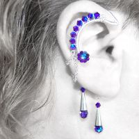 Heliotrope and Cobalt Ear Wrap- SOLD by YouniquelyChic