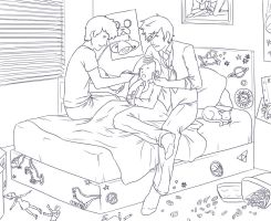 Sick in Bed LINEART by vythefirst