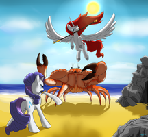 BronyCan Poster - Rarity and Apricity vs Crab by LaptopGun