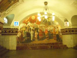 Moscow Metro Painting by mamc1986