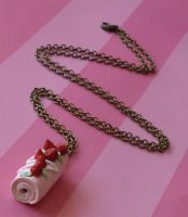 Strawberry Roll Cake Necklace by FatallyFeminine