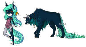 Cosmic Wolf + Chibi Adoptable - CLOSED by Karijn-s-Basement