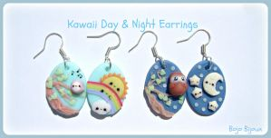 Kawaii day and night earrings by Bojo-Bijoux