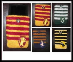 Hogwarts House Media Cases by TheCrochetDragon