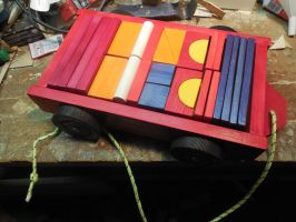 Wooden Block and Wagon set painted by bobsideways