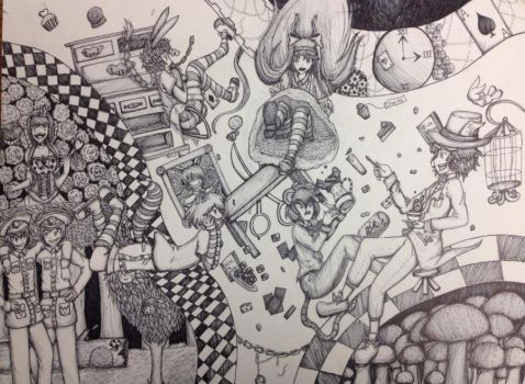 Alice and Wonderland (Pen+Ink) by Pacifica666