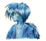 kenshin in blue markers by aeka