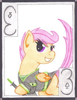 The Adventurous Three of Clubs: Scootaloo by The1King