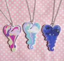 My Little pony princess sleeping heart necklaces by KawaiiMoon24
