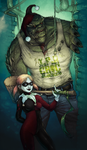 Harley Quinn and Killer Croc by yvash