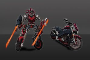 Motorcycle Transformer by glovestudios