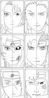 Konoha VS Akatsuki - Lineart by Votaris