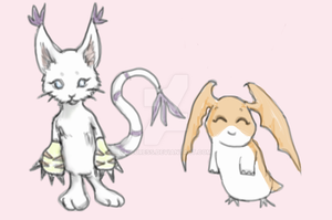 Gatomon, Patamon by aluress
