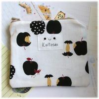 Black Apples Zip Pouch by Keito-San