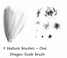 9 texture brushes+Dragon Scale by Kheltari