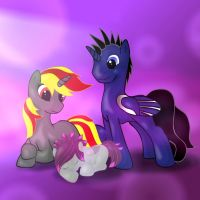 Free MLP Commission: Vinyl Violet and Nightfall by LTN01
