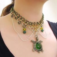 Turtle Green and Gold Chainmaille Necklace by merigreenleaf