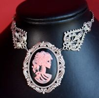 Pink cameo necklace by Pinkabsinthe