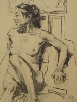 Charcoal on paper life drawing  Kuan by mashabraslavsky