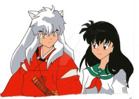 inuyasha and kagome by darkdragonlightwolf