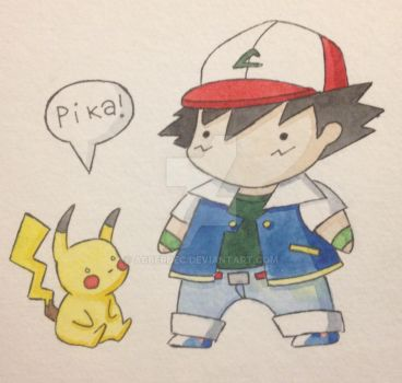 Ash and Pikachu by acberdec