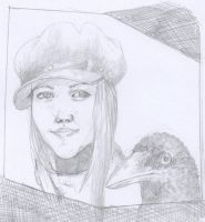 a girl with her crow by Conde-makoto