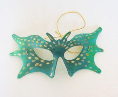Gold Scales - Green Butterfly - Leather Mask by nondecaf