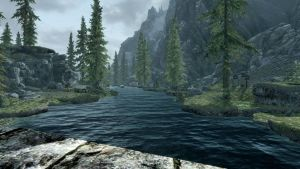 Skyrim Looking Down Stream by loloalien