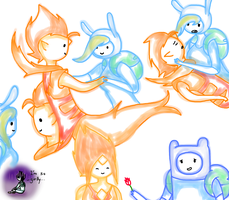 fionna,flame prince,finn and flame princess by The-Prince-Of-Ooo