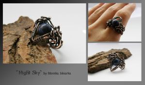 Night sky- wire wrapped ring by mea00
