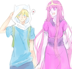 Finn X Princess Bubblegum by Paper-Neko