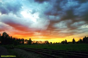 SUNSET OVER THE RAILWAY... by magicandbrother