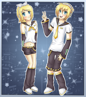 Kagamine twins by HellKitten2204