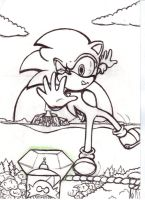 Sonic tight rope : Inking by supersonicartdrawer