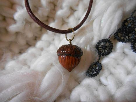 Acorn Polymer Clay Necklace 01 by Alhys