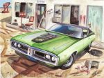 71 Dodge Super Bee  At Abandoned Motel (Painting) by FastLaneIllustration