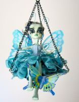 Polly Lupine - Blue Butterfly ooak monster high by midnightstrinkets