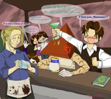 Pyramid Head at the bar by neoanimegirl