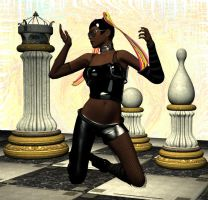 Black queen of the chess board by silverexpress