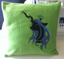 Embroidered Queen Chrysalis Fleece Pillow by GrayTheZebra