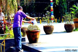 Watering Plants by Angelica-Aquino